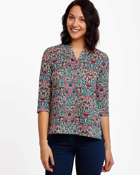 Printed Cotton Tunic By Akkriti By Pantaloons ( Pink )
