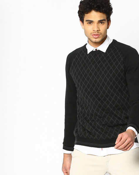 Geometric Print Pullover With Raglan Sleeves By LEVIS ( Grey )