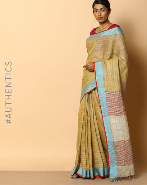 Handloom Pure Linen Saree With Fringes By Indie Picks ( Multi ) - 460097383001