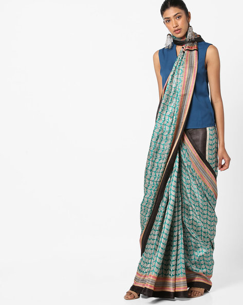 Printed Saree With Contrast Border By Florence ( Green )