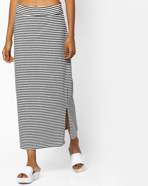 Striped Midi Skirt With Slit By BOSSINI ( Grey )