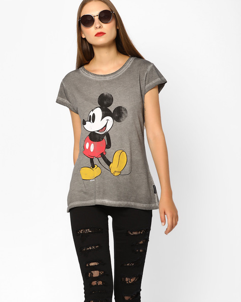 Mickey Mouse Print Burnout T-shirt By Free Authority ( Majenta )