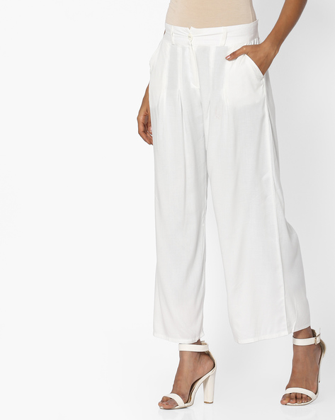 Ankle-Length Palazzo Pants With Elasticated Back-Waist By W ( White )