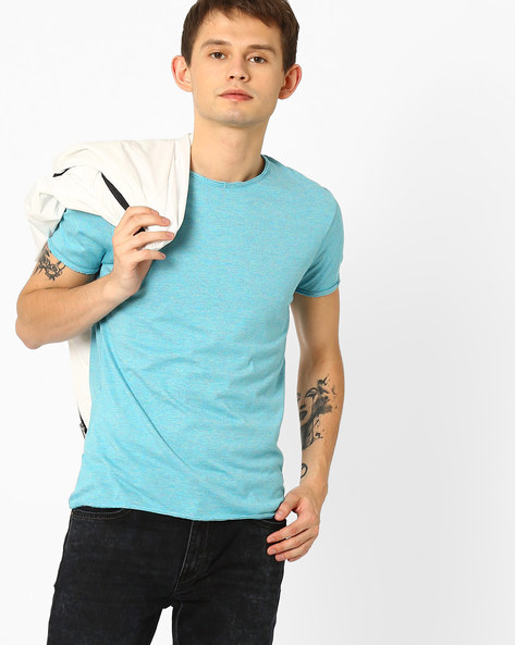 Regular Fit Cotton T-shirt By Fort Collins ( Turqouise )
