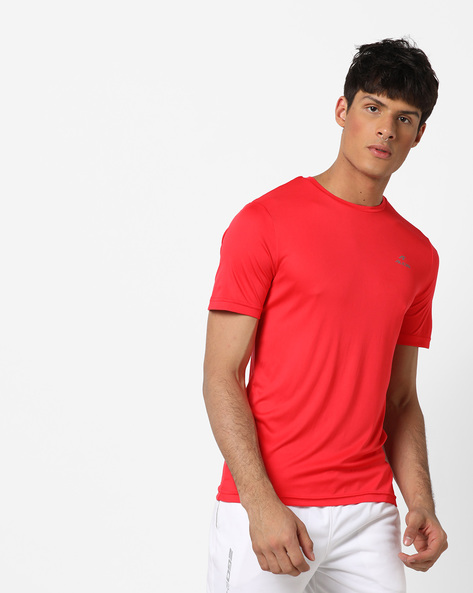 Crew-Neck T-shirt With Signature Branding By ALCIS ( Red )