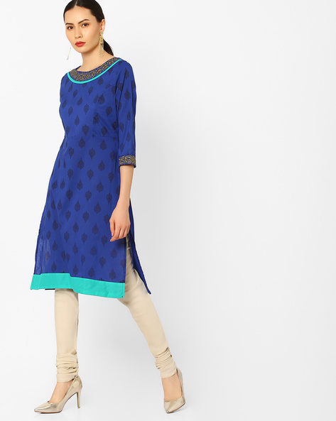 Printed Kurta With Embroidery By AJIO ( Blue )