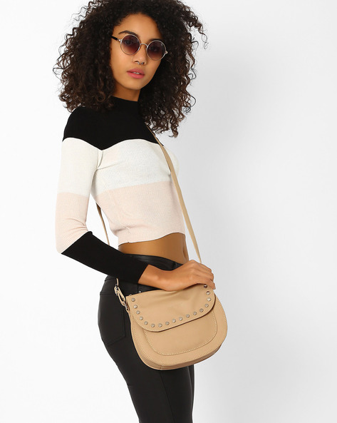 Studded Saddle Sling Bag By Pockit ( Cream )