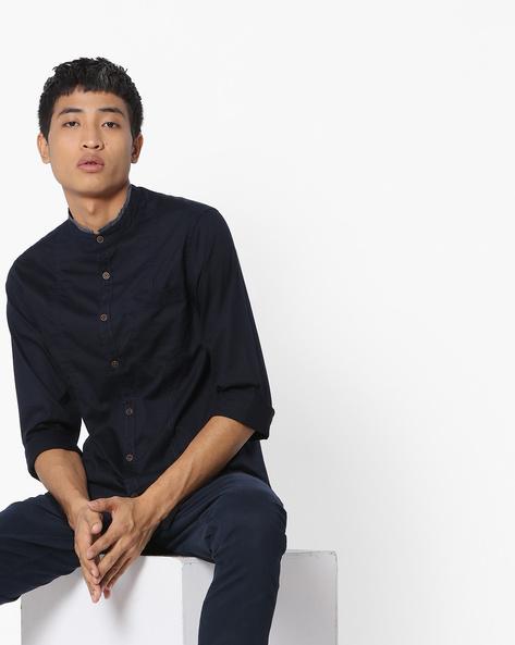 Panelled Shirt With Mandarin Collar By AJIO ( Navy )