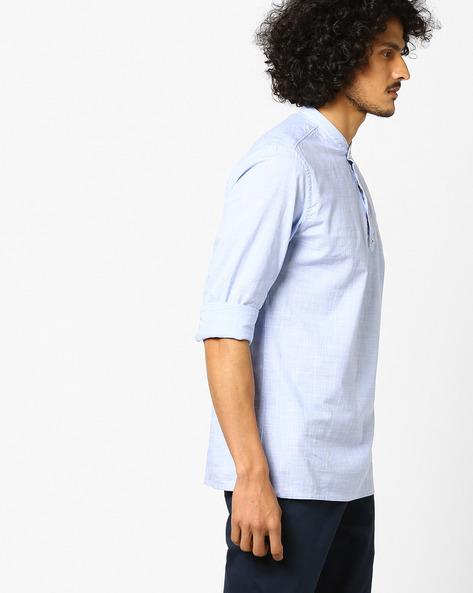 Micro Checked Shirt Kurta By NETPLAY ( Blue )