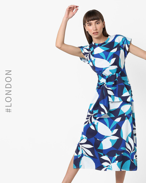 Geometric Print A-line Dress With Sash By Closet London ( Multi )