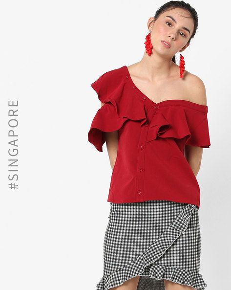 One-Shoulder Ruffled Toga Top By MDS ( Red )