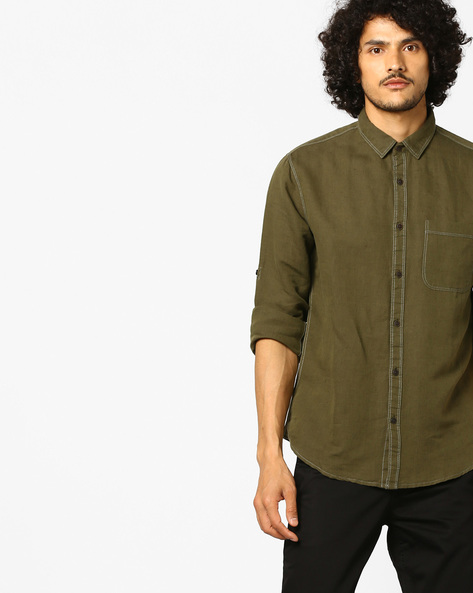 Cotton Linen Shirt With Contrast Stitch By AJIO ( Olive )