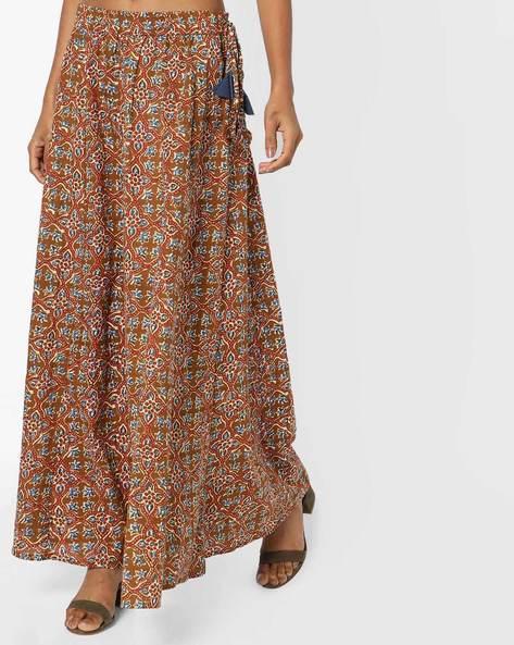 Printed Maxi Skirt By AJIO ( Brown )