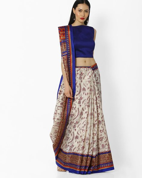 Warli Print Saree With Zari Border By Amori ( Navyblue )