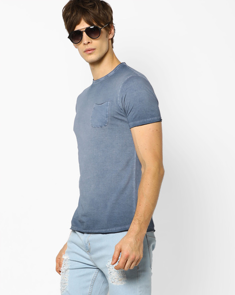 Crew-Neck T-shirt With Dyed Effect By Fort Collins ( Blue )
