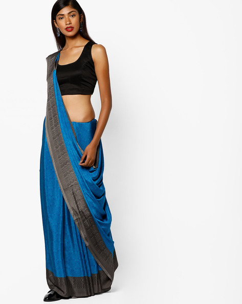 Printed Saree With Contrast Border By Majestic Silk ( Navyblue )