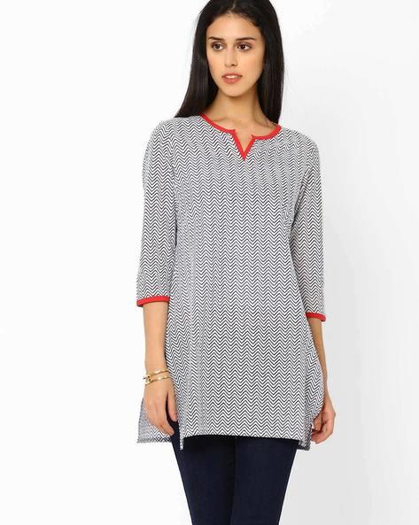 Jaipuri Print Tunic By AJIO ( Blue )