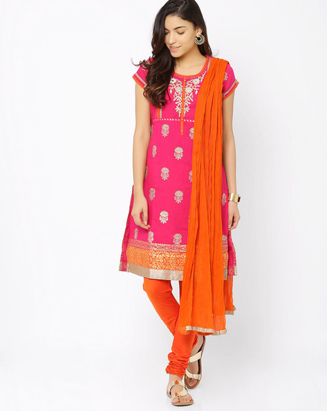 Churidar Kurta With Dupatta By Trishaa By Pantaloons ( Pink )
