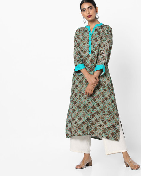 Floral Print Kurta With Mock Button Placket By Shree ( Olive )