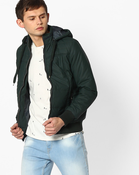 Hooded Quilted Jacket By Fort Collins ( Lightgreen )