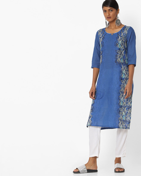 Textured Floral Print Straight Kurta By AURELIA ( Blue )