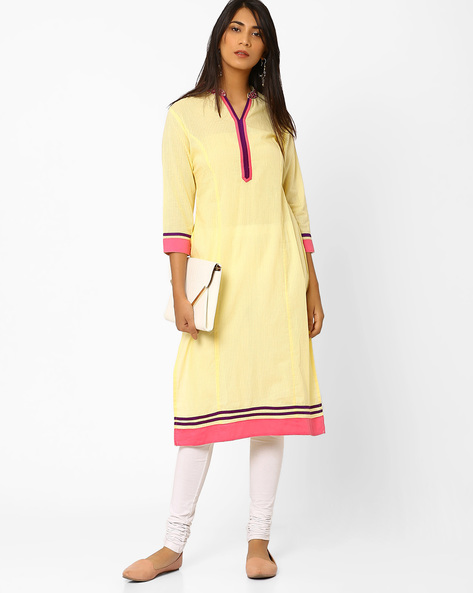 Self-Striped Kurta With Embroidered Collar By AJIO ( Yellow )