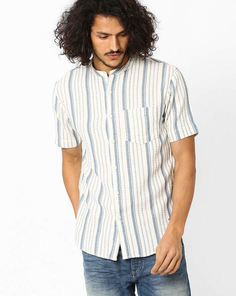Striped Slim Shirt With Short Sleeves By VOI JEANS ( Ecru )