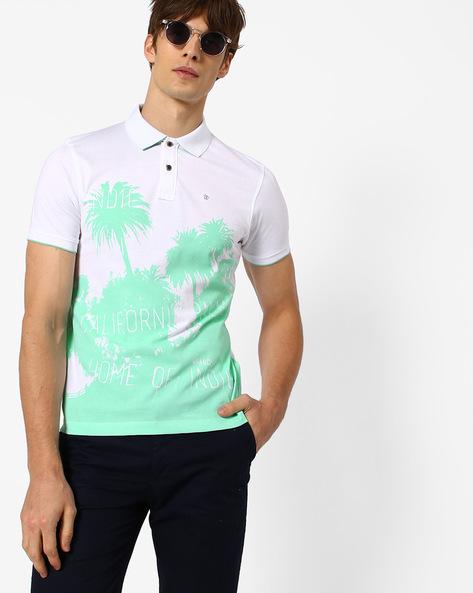 Tropical Print Polo T-shirt By WRANGLER ( White )