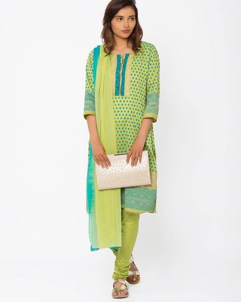 Printed Churidar Kurta With Dupatta By Trishaa By Pantaloons ( Green )