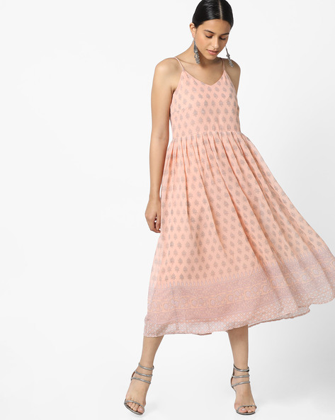 Printed Strappy Fit & Flare Dress With Pleats By AJIO ( Peach )