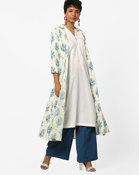 Printed Open-Front Jacket With Tassels By AJIO ( Blue )