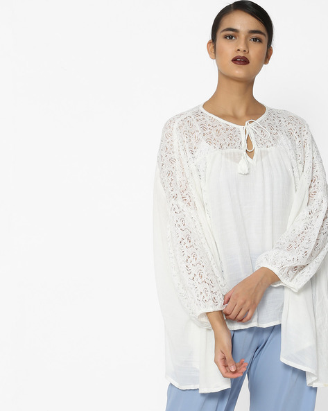Oversized Top With Lace Inserts By Tokyo Talkies ( White )