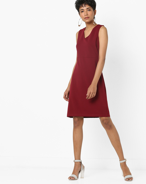 A-line Dress With Lace-Up Back By AJIO ( Maroon )
