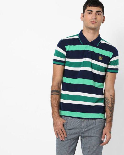 Slim Fit Striped Polo T-shirt By DUKE ( Navy )