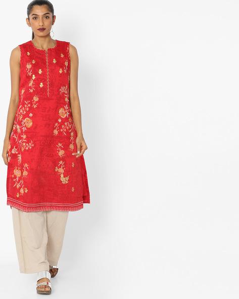 Floral Print Sleeveless Kurta With Zari Embroidery By Biba ( Red )
