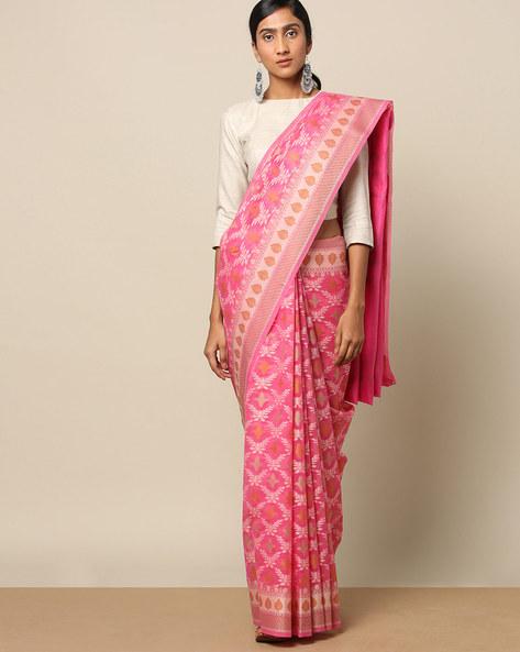 Banarasi Cotton Resham Jaal Saree By Banarasi Style ( Magenta )