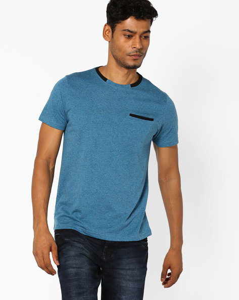 Speckled T-shirt With Welt Pocket By AJIO ( Lightblue )