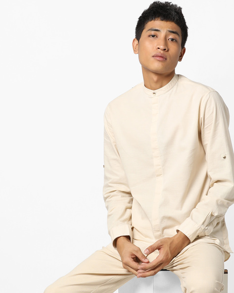 Slim Fit Shirt With Band Collar By AJIO ( Beige )