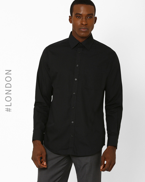 Regular Fit Easy-To-Iron Shirt By Marks & Spencer ( Black )