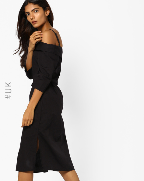 Off-Shoulder Bardot Dress With Tie-Up By NEON ROSE ( Black )