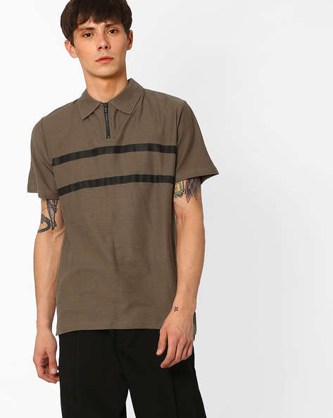 Polo T-shirt With Zip Detail By Blue Saint ( Olive )