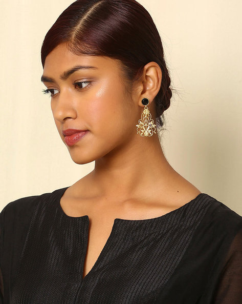 Gold-Plated Floral Brass Drop-Earrings By Indie Picks ( Multi )