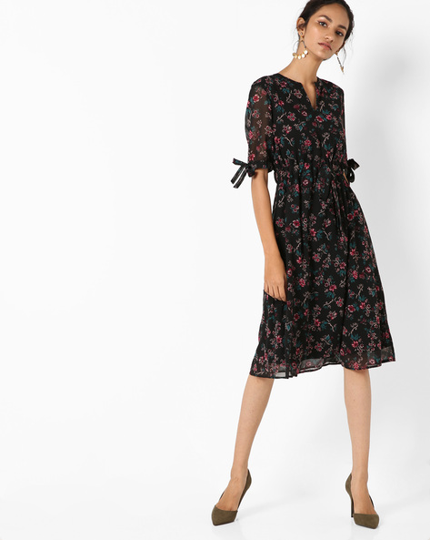 A-line Dress With Floral Print By AJIO ( Black )