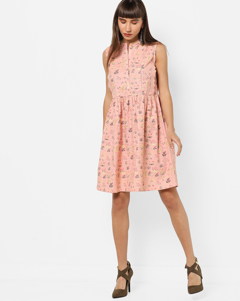 Floral Print A-line Dress With Lace Panels By AJIO ( Pink )