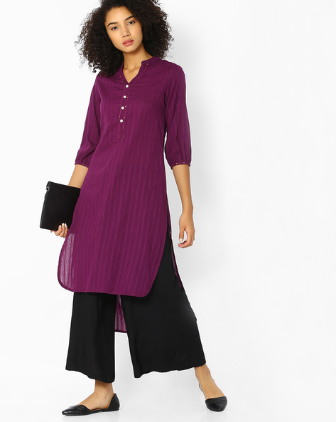 High-Low Kurta With Mandarin Collar By OVI ( Purple )