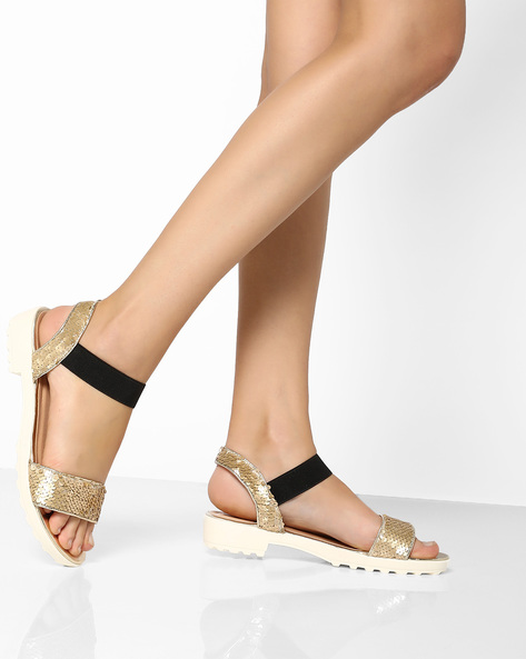 Ankle Strap Platforms With Sequin Embellishments By Carlton London ( Gold )