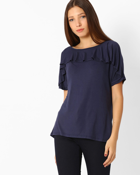 Layered Top With Ruffle Detail By Femella ( Navyblue )