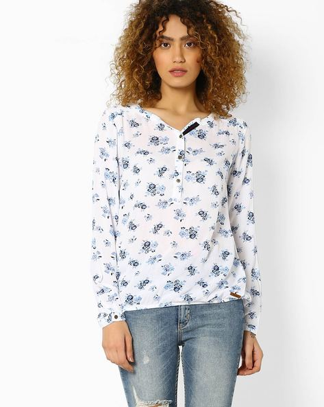 Floral Print Cotton Top By DNM X ( White )