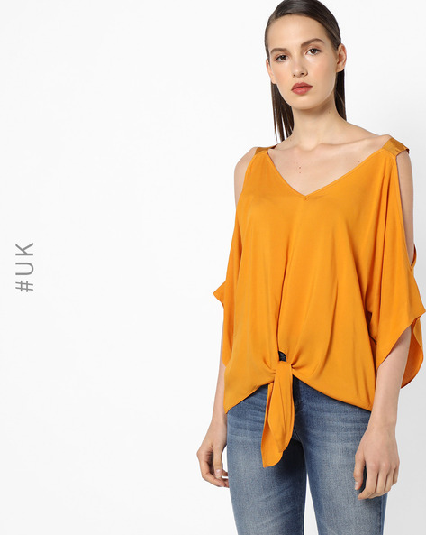 Cold-Shoulder Top With Front Tie-Up By OEUVRE ( Yellow )