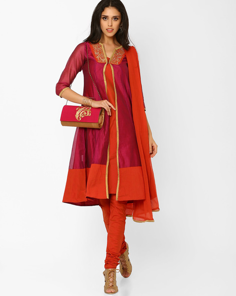 Kurta Suit Set With Overcoat By AJIO ( Maroon )